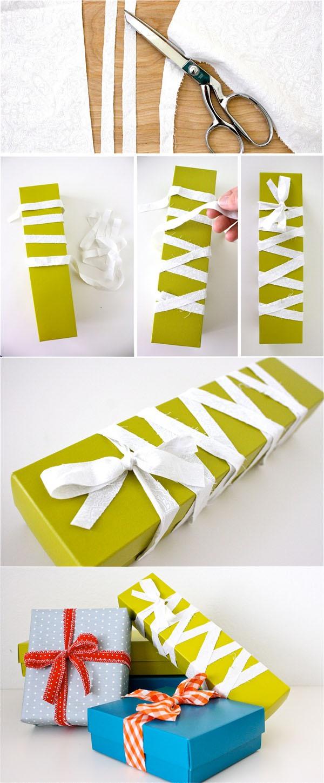 Học nhanh cách thắt nơ hộp quà với dây vải 3