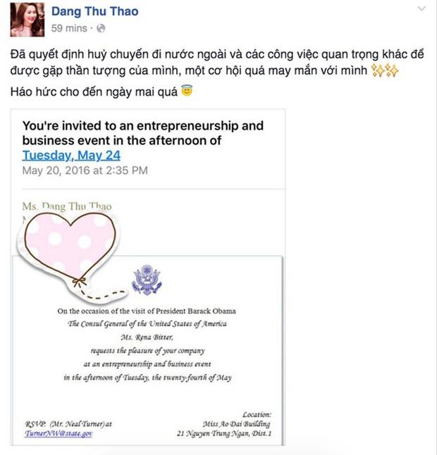Hoa hậu Thu Thảo cảm ơn bạn trai vì cơ hội diện kiến Tổng thống Obama - Ảnh 3.
