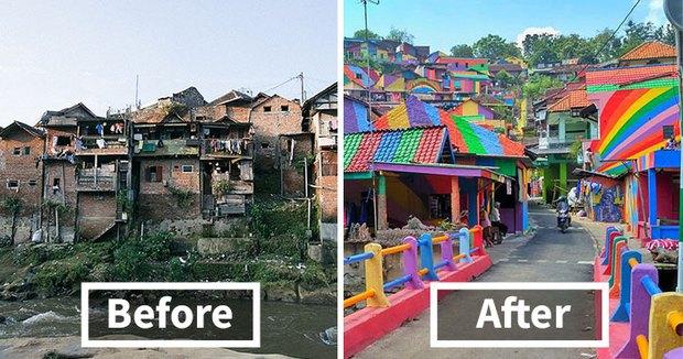 Khu ổ chuột ở Indonesia bỗng lột xác chỉ sau thời gian ngắn, du khách tấp nập ghé thăm - Ảnh 1.