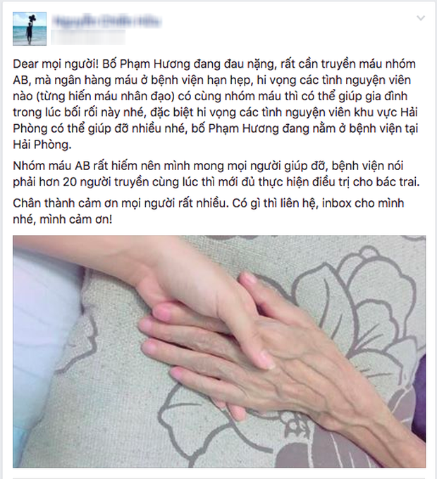 Bố hoa hậu Phạm Hương đang trong cơn nguy kịch mong được giúp đỡ - Ảnh 1.