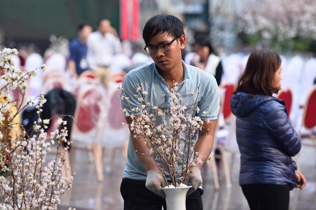 Người dân Hà Nội háo hức chụp ảnh với hoa anh đào từ ngoài hàng rào - Ảnh 6.