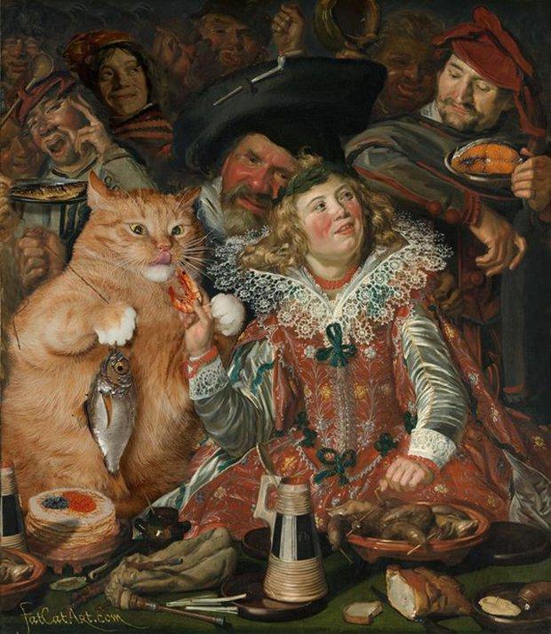 Chùm ảnh chế mèo béo hóa thân thành nàng thơ trong các bức họa nổi tiếng - Ảnh 23.