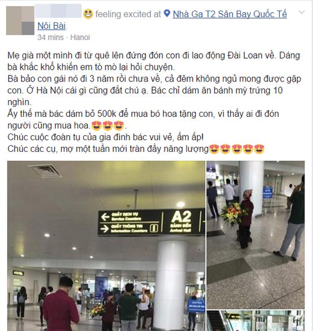 Hình ảnh cảm động ở sân bay: Người mẹ nghèo ôm bó hoa 500k chờ tặng con gái sau 3 năm đi xuất khẩu lao động - Ảnh 2.