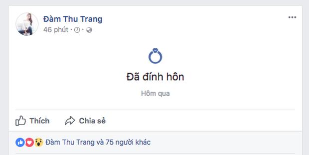 Cường Đô La và Đàm Thu Trang cùng để trạng thái đã đính hôn trên facebook, chính thức công khai hẹn hò? - Ảnh 2.