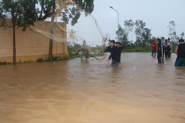 Sau bão số 10, người dân Quảng Bình quăng chài, thả lưới bắt cá giữa phố - Ảnh 2.