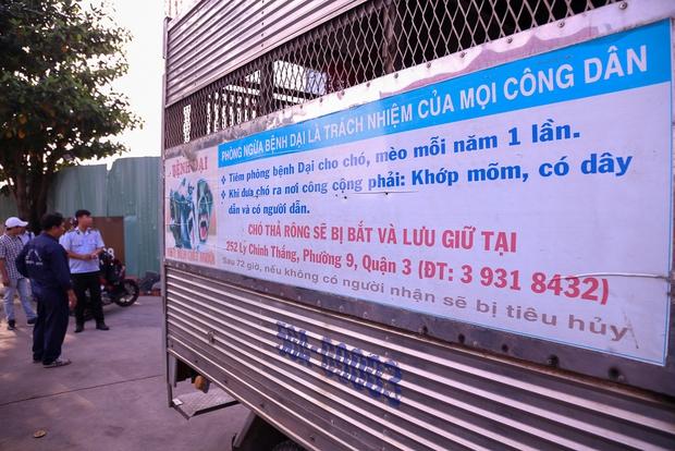 Bảng tuyên truyền được dán bên hông thùng xe chuyên dụng để chở chó.