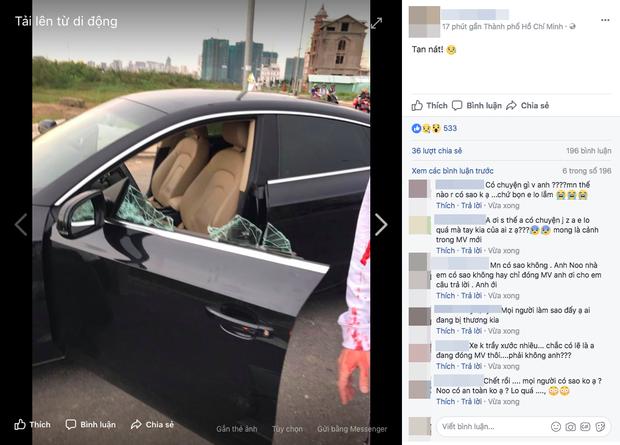 Quản lý đăng ảnh ô tô bị tai nạn, fan lo lắng vì sợ Noo Phước Thịnh gặp sự cố - Ảnh 1.