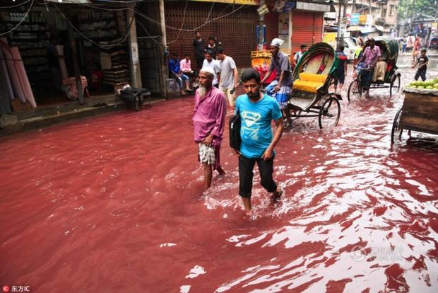 Sự thật đằng sau dòng nước đỏ như máu xuất hiện trên đường sau cơn mưa khiến người dân kinh sợ - Ảnh 2.