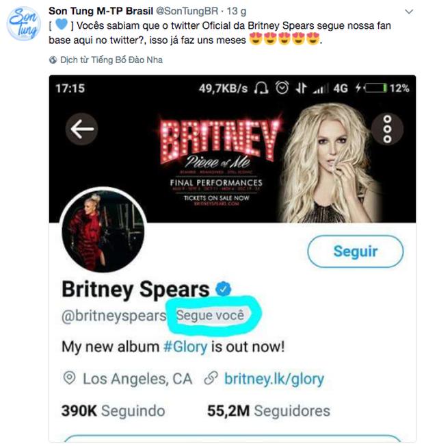 Britney Spears âm thầm theo dõi fanpage của Sơn Tùng tại Brazil - Ảnh 1.