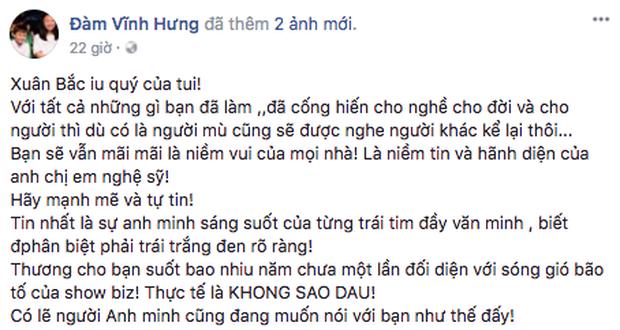 Hồ Ngọc Hà, Đàm Vĩnh Hưng và hàng loạt sao Việt lên tiếng ủng hộ, động viên Xuân Bắc - Ảnh 2.