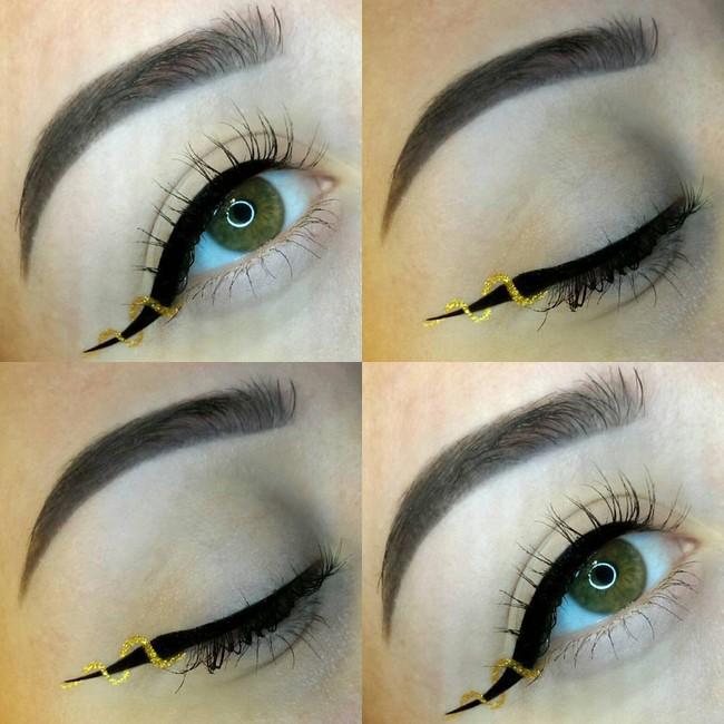 Kẻ eyeliner thường đã khó, nay các nàng còn thi nhau kẻ kiểu đánh đố như thế này - Ảnh 10.