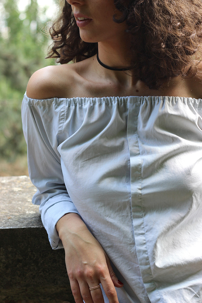 Học cách cắt áo sơ mi của bố thành áo lệch vai sexy ngày hè - Ảnh 9.