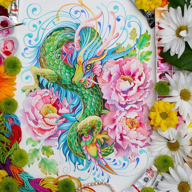 Bộ tranh màu nước 12 con giáp tuyệt đẹp lấy cảm hứng từ thiên nhiên - Ảnh 1.