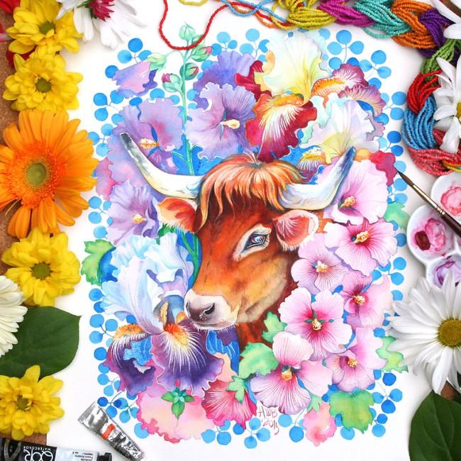 Bộ tranh màu nước 12 con giáp tuyệt đẹp lấy cảm hứng từ thiên nhiên - Ảnh 10.