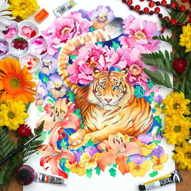 Bộ tranh màu nước 12 con giáp tuyệt đẹp lấy cảm hứng từ thiên nhiên - Ảnh 11.