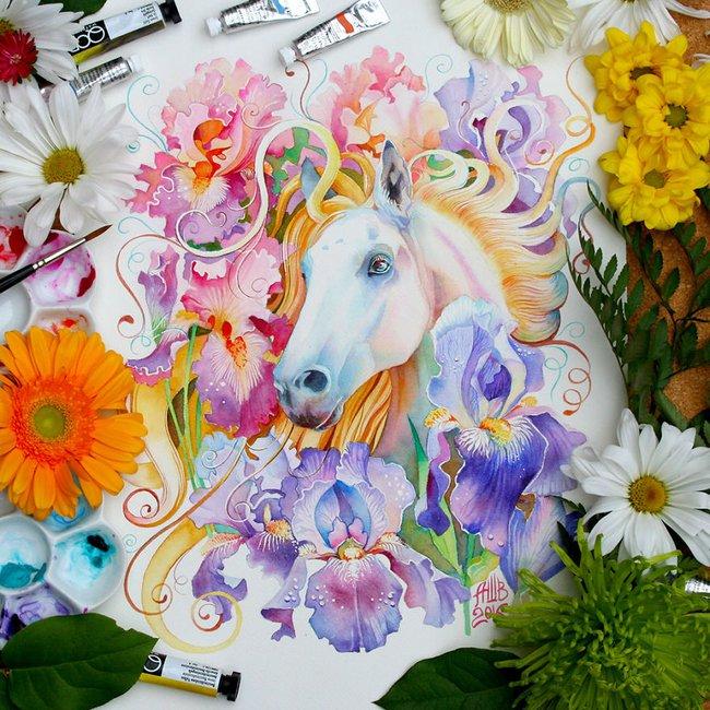 Bộ tranh màu nước 12 con giáp tuyệt đẹp lấy cảm hứng từ thiên nhiên - Ảnh 3.