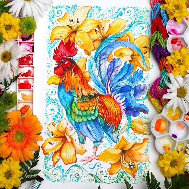 Bộ tranh màu nước 12 con giáp tuyệt đẹp lấy cảm hứng từ thiên nhiên - Ảnh 6.