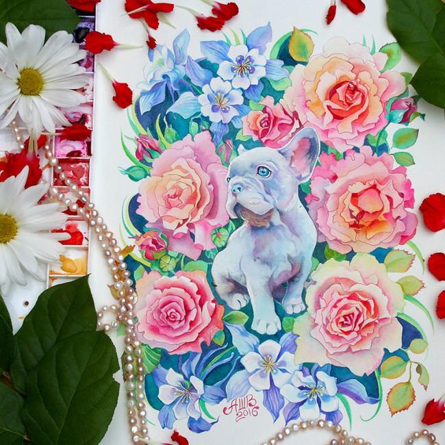 Bộ tranh màu nước 12 con giáp tuyệt đẹp lấy cảm hứng từ thiên nhiên - Ảnh 7.