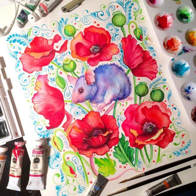 Bộ tranh màu nước 12 con giáp tuyệt đẹp lấy cảm hứng từ thiên nhiên - Ảnh 9.