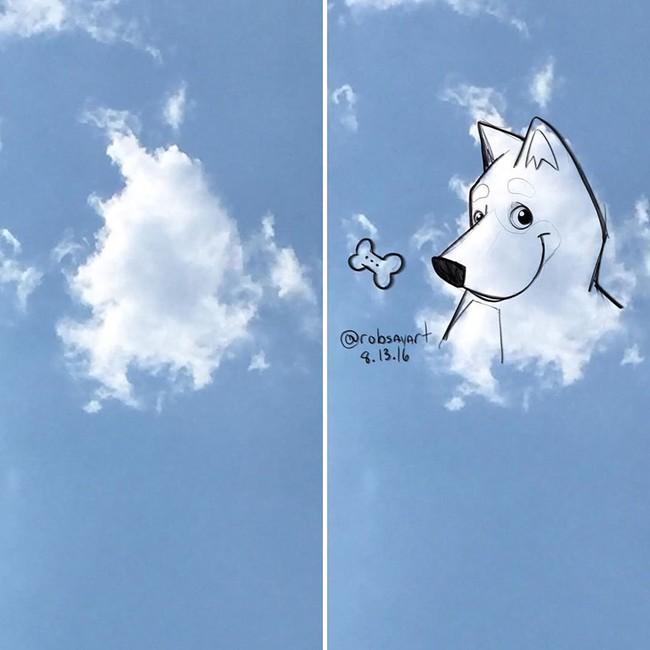 Họa sĩ vẽ tranh hoạt hình lên những đám mây - Ảnh 3.