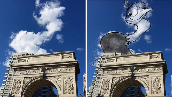 Họa sĩ vẽ tranh hoạt hình lên những đám mây - Ảnh 5.