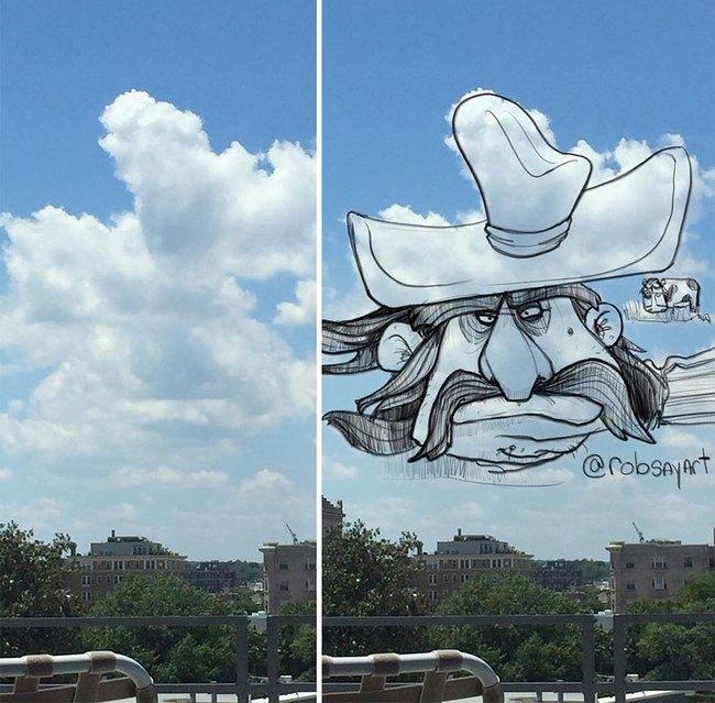 Họa sĩ vẽ tranh hoạt hình lên những đám mây - Ảnh 6.