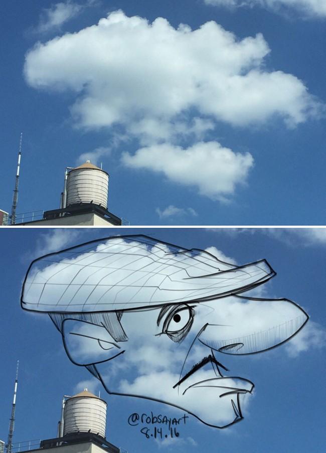 Họa sĩ vẽ tranh hoạt hình lên những đám mây - Ảnh 10.