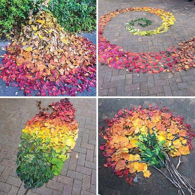 Tuyển tập những bức tranh tuyệt đẹp được vẽ nên từ lá vàng rơi và chổi - Ảnh 11.