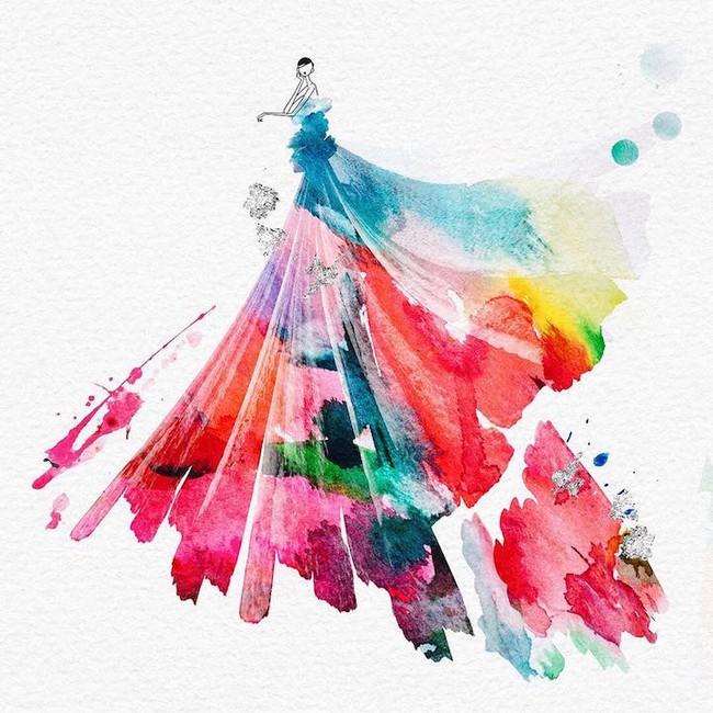 Những bản vẽ thiết kế thời trang loang lổ khiến người xem mãn nhãn - Ảnh 2.