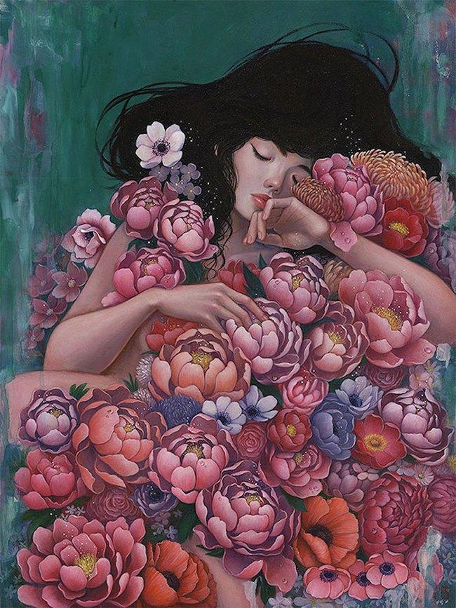 Bộ tranh những cô gái e ấp bên hoa cỏ đẹp dịu dàng khiến ta ngỡ là tiên nữ đời thực - Ảnh 1.