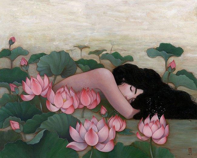 Bộ tranh những cô gái e ấp bên hoa cỏ đẹp dịu dàng khiến ta ngỡ là tiên nữ đời thực - Ảnh 3.
