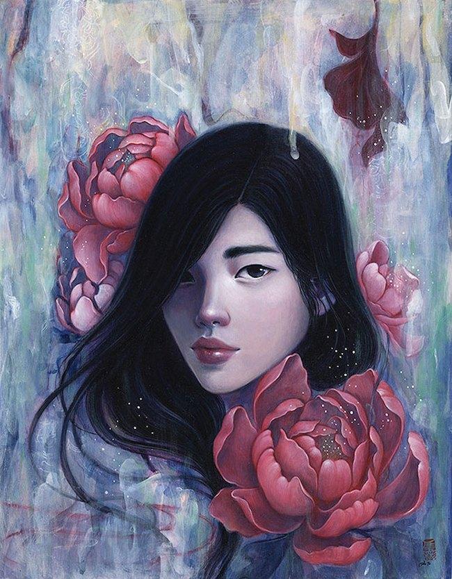 Bộ tranh những cô gái e ấp bên hoa cỏ đẹp dịu dàng khiến ta ngỡ là tiên nữ đời thực - Ảnh 5.