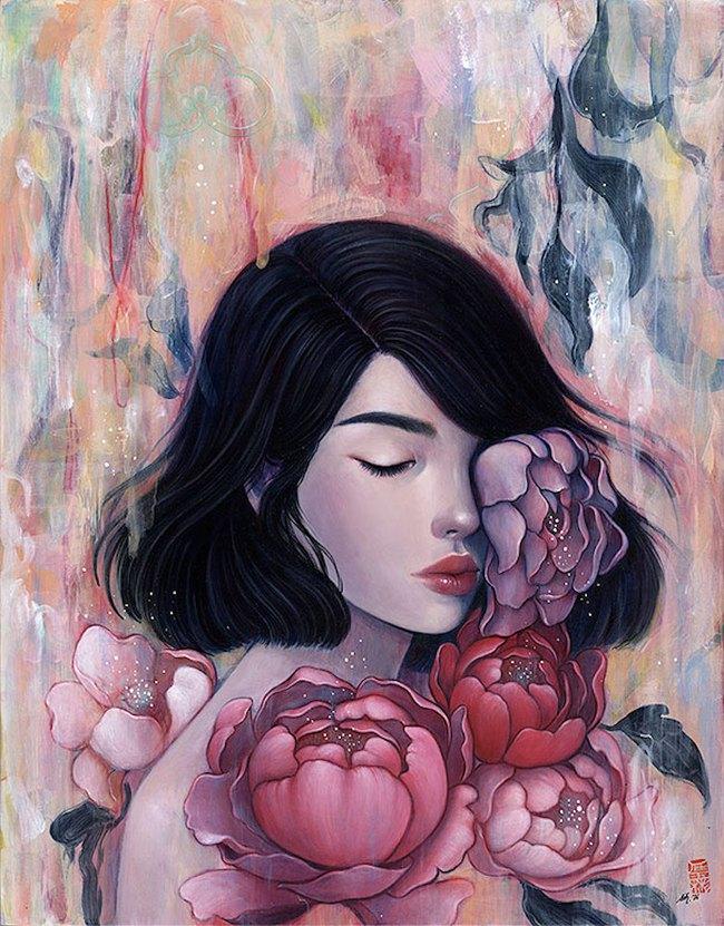 Bộ tranh những cô gái e ấp bên hoa cỏ đẹp dịu dàng khiến ta ngỡ là tiên nữ đời thực - Ảnh 7.