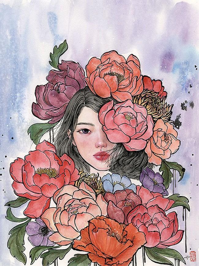 Bộ tranh những cô gái e ấp bên hoa cỏ đẹp dịu dàng khiến ta ngỡ là tiên nữ đời thực - Ảnh 9.