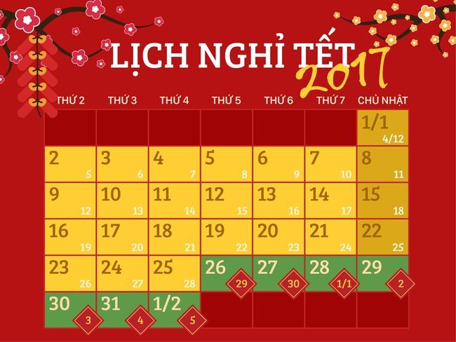 Bộ Lao động chính thức thông báo lịch nghỉ Tết Đinh Dậu 2017 - Ảnh 1.