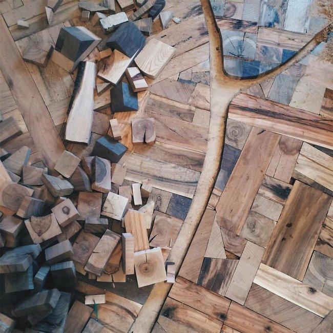 Thu thập các mảnh gỗ vụn bỏ đi, người đàn ông biến sàn nhà thành một tác phẩm nghệ thuật đẹp ngỡ ngàng - Ảnh 7.