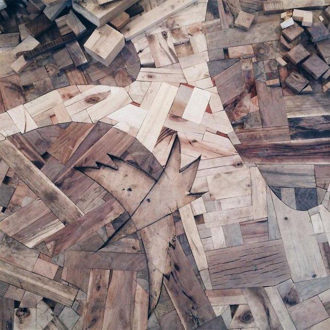 Thu thập các mảnh gỗ vụn bỏ đi, người đàn ông biến sàn nhà thành một tác phẩm nghệ thuật đẹp ngỡ ngàng - Ảnh 11.