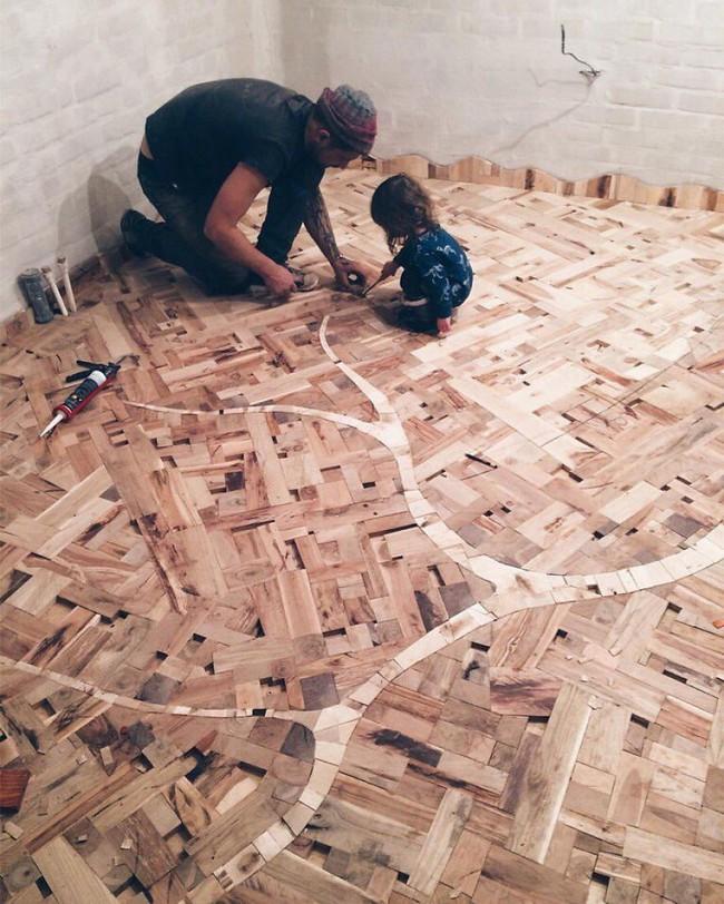Thu thập các mảnh gỗ vụn bỏ đi, người đàn ông biến sàn nhà thành một tác phẩm nghệ thuật đẹp ngỡ ngàng - Ảnh 13.