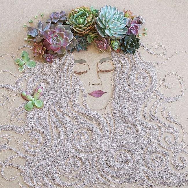 Ngắm bộ tranh chân dung gái đẹp được làm từ hoa cỏ mùa xuân - Ảnh 5.