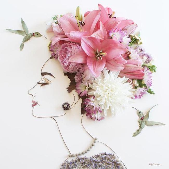 Ngắm bộ tranh chân dung gái đẹp được làm từ hoa cỏ mùa xuân - Ảnh 7.