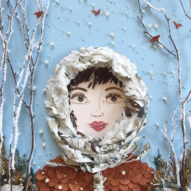 Ngắm bộ tranh chân dung gái đẹp được làm từ hoa cỏ mùa xuân - Ảnh 9.