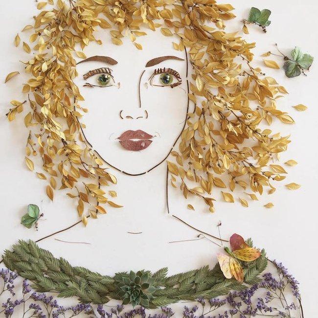 Ngắm bộ tranh chân dung gái đẹp được làm từ hoa cỏ mùa xuân - Ảnh 17.