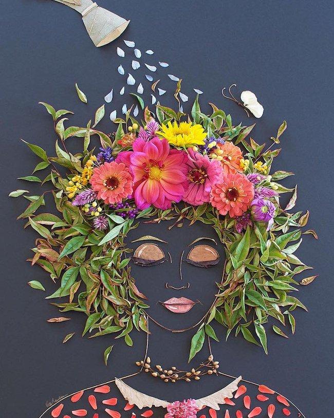 Ngắm bộ tranh chân dung gái đẹp được làm từ hoa cỏ mùa xuân - Ảnh 23.