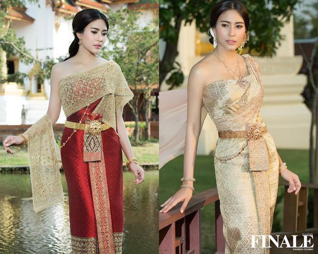 Vẻ đẹp thần thánh của các mỹ nhân hàng đầu Thái Lan trong trang phục truyền thống đón Tết Songkran - Ảnh 12.