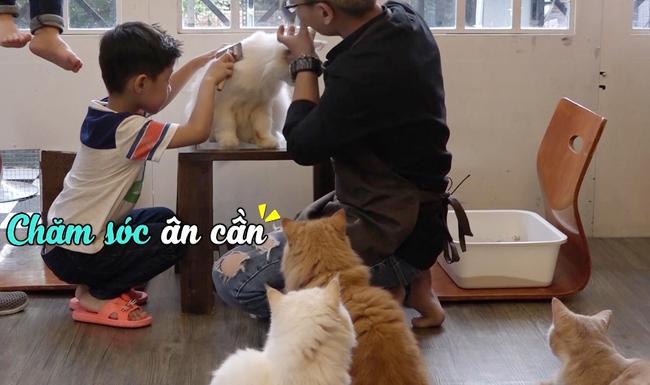 Đăng Khôi hốt hoảng khi con trai bỏ cả thức ăn của mèo vào miệng - Ảnh 4.