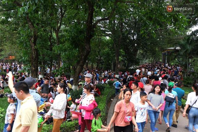 Hà Nội: Biển người chen chân ở vườn thú Thủ Lệ, ngồi la liệt trên bãi cỏ dịp nghỉ lễ 30/4 - Ảnh 1