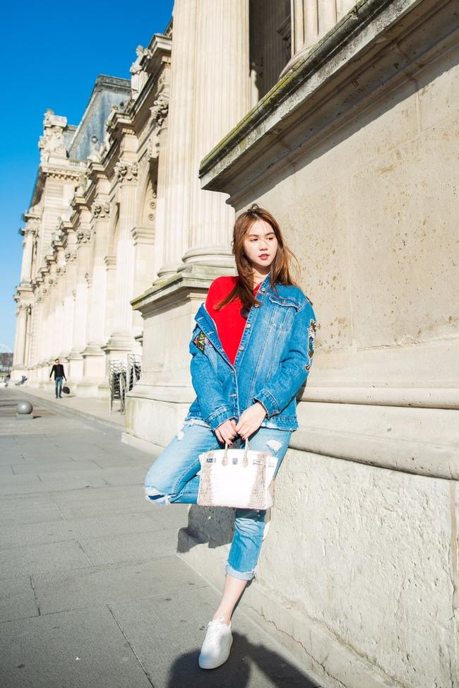 Ngọc Trinh khoe vẻ đẹp năng động, tươi vui hết cỡ trên đường phố Paris - Ảnh 3.