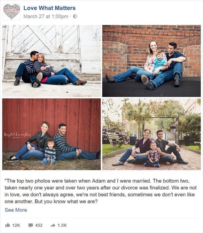 Chia tay nhau đã lâu, 2 vợ chồng vẫn chụp ảnh gia đình mỗi năm và lý do cảm động đằng sau - Ảnh 1.
