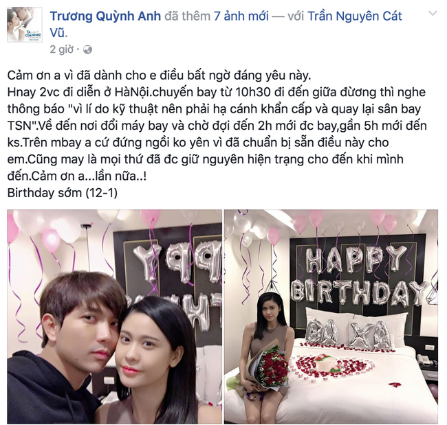 Tranh thủ chuyến lưu diễn, Tim bí mật tổ chức sinh nhật lãng mạn cho Trương Quỳnh Anh - Ảnh 1.