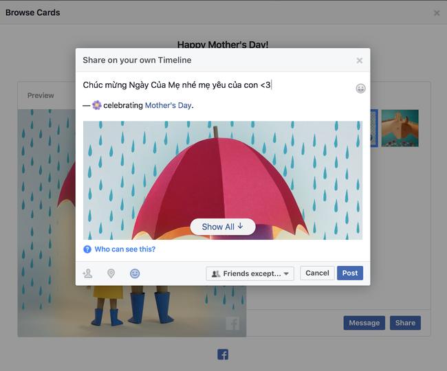 Facebook vừa cho gửi thiệp và thả triệu hoa trong Ngày Của Mẹ, bạn đã làm chưa? - Ảnh 3.